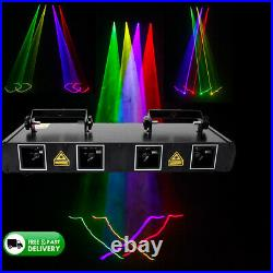 4 Lens RGBY 460mW DMX Laser Stage Light Club Party Lighting Projector Disco Xmas