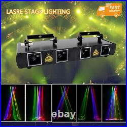 4 Lens RGBY 460mW DMX Laser Stage Light Projector Party DJ Lighting Disco Show
