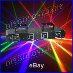 760mW Green+Red+Yellow+Blue 4 Lens Stage Disco DJ DMX Laser beam Light Show