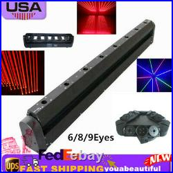 DMX512 Stage Moving Head Beam Scan Laser Light 6/8/9Eyes RED Spider Projector