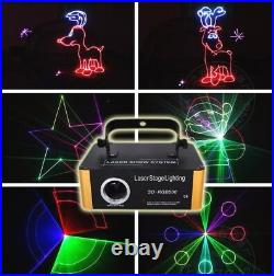 Mini DMX RGB SD Animation Laser Light Projector Show DJ Home Party Stage Light