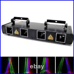 RGBY Stage Light 4 Laser Beam 300 Patterns LED Strobe Projector DMX Party Disco