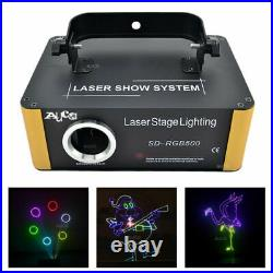 RGB SD Card Animation Scan Laser Projector DMX DJ Party Stage Lights 500mW New